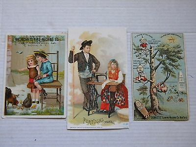 3 Different Sewing Machine Trade Cards: Singer American & Domestic