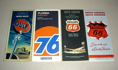 Lot of 4 - GULF UNION 76 PHILLIPS Oil Gas Road Maps - Florida Georgia Carolina