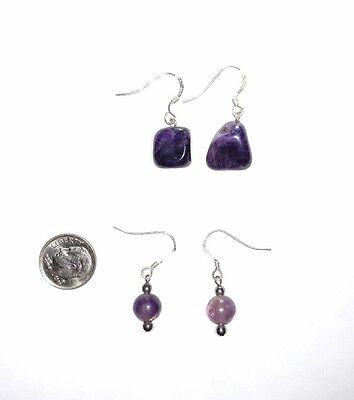 Lot of 2 Pairs Sterling Silver Hook Amethyst Stone Dangle Earrings Handmade