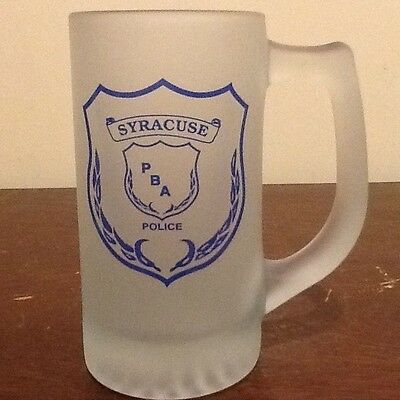 Syracuse Pba Police Frosted Glass Stein