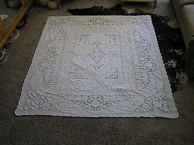 "Lovely Heirloom Victorian Filet Belgium Lace Tablecloth 77"" x 68"""
