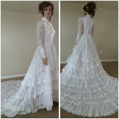 vintage 70s lace ruffles wedding dress wedding gown with train by Bridallure in
