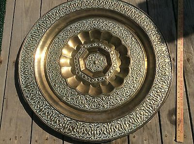 Large Vintage Brass Ornate Wall Charger, Approximately 30 Inch Diameter