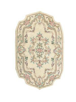 Dollhouse Miniature Floral Computer Printed Rug 1:12 Cotton Cream Oval