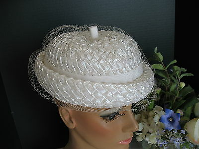 Creamy White Vintage Straw Hat w Seductive Netting - Easter or Wedding Straw Hat