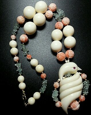 Vintage Massive Chinese Carved Coral Shou Tagua Nut Bead Bird Pendant Necklace