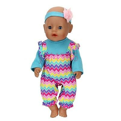 Grid color jumpsuit +hairbrandWearfor 43cm Baby Born zapf (only sell clothes )