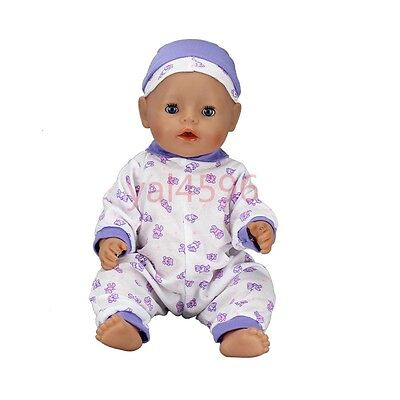 Purple dot Jumpsuit+hat Wearfor 43cm Baby Born zapf (only sell clothes )