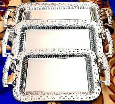 3 Pcs Crystals Encrusted Silver Stainless Steel Serving Trays