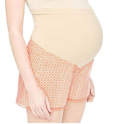 Maternity Oh Baby by Motherhood Secret Fit Belly Print Soft Coral Shorts NWT