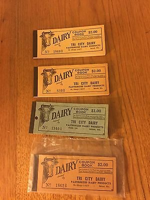 Lot of 4 Vintage Milk Co-Op Coupon Books, Unused, Tri City Dairy, Durand WI