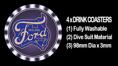 4  x  FORD - GEELONG, THE HOME OF THE V8's -  MOTORCAR CAR , DRINK COASTERS