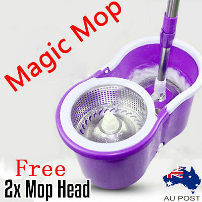 Spin Mop 360 Bucket Stainless Steel Dry 2 Free Microfibre Mop Head