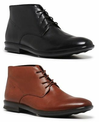 Mens Hush Puppies Cole Black Tan Formal/dress/work/leather Shoes -Wide Boots