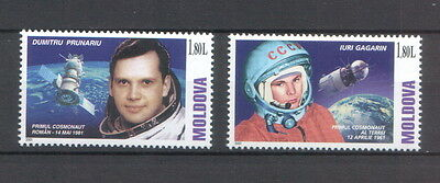 Moldova 2001 Space Flight Astronauts Gagarin & Prunariu 2 MNH stamps