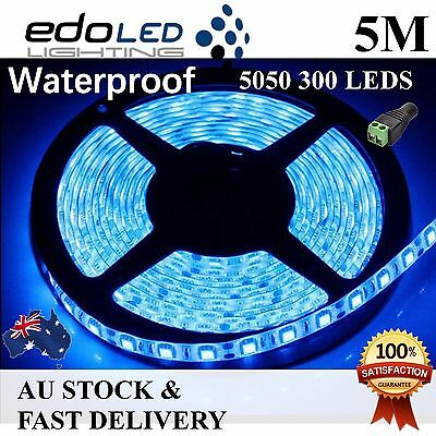 12V Blue 5M 5050 SMD 300 Leds Flexible Led Strip Lights Waterproof Car Camping