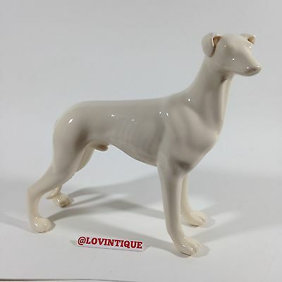 Greyhound Vintage Art White Porcelain Dog Whippet Puppy Pup Statue Figurine Cute