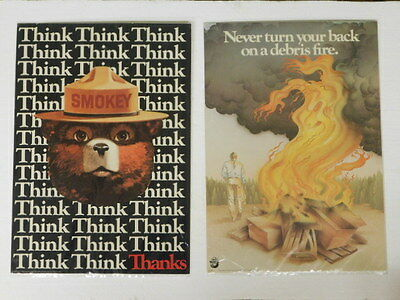 "usda - Lot of 2 - Smokey the Bear - Fire prevention Poster Prints - 13"" x 18 1/2"