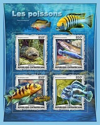 Z08 CA17012a CENTRAL AFRICAN REP 2017 Fishes MNH Mint