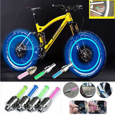 LED Neon Flash Light Lamp Bike Car Tire Tyre Wheel Valve Sealing Caps