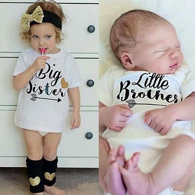 Little Brother& Big Sister Kids Children T-Shirt Newborn Baby Boy Girls Romper