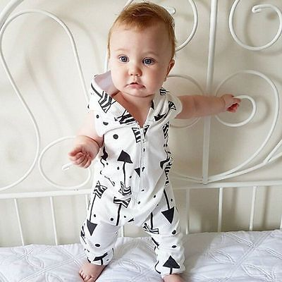 Newborn Kids Baby Boy Girl Infant Romper Jumpsuit Bodysuit Hoodie Clothes Outfit