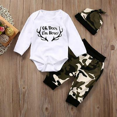 Newborn Baby Boy Girl White T shirt Tops Romper + Camouflage Pants & Hat Outfits