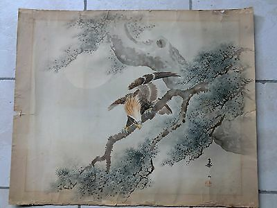 Antique chinese painting eagle calligraphy seal mark