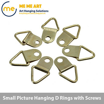2/10/20/50/100 +Screw D-Ring Painting Picture Frame Hanger Hanging Triangle Hook