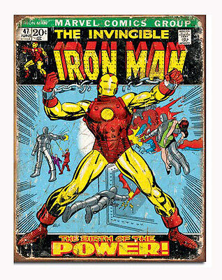 Marvel Comics A3 Tin Metal Sign Invincible IRON MAN Vintage Comic Cover Licensed