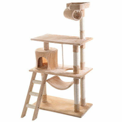 "56"" Cat Tree Tower Condo Scratch Post Pet House Bed Scratchier Beige"