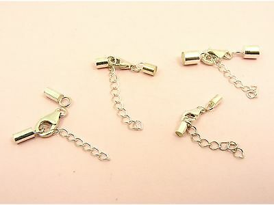 925 STERLING SILVER Clasp END CAP Kit + Extension CHAIN for 2mm / 3mm / 4mm Cord