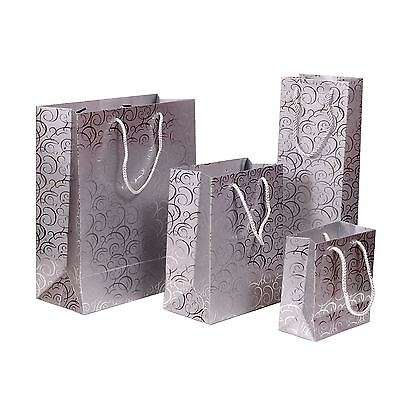 KRAFTZ® Christmas Birthday Party Glossy Matte Laminated 4 Gift Bags (SILVER)