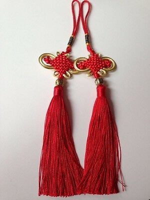 2✖️ red chinese lucky knot golden line.fengshui lucky charm,wall/car hanging