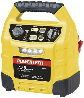 POWERTECH 12V 12Ah 3-IN-1 Jump Starter With 2.4A USB And LED Light MB3734