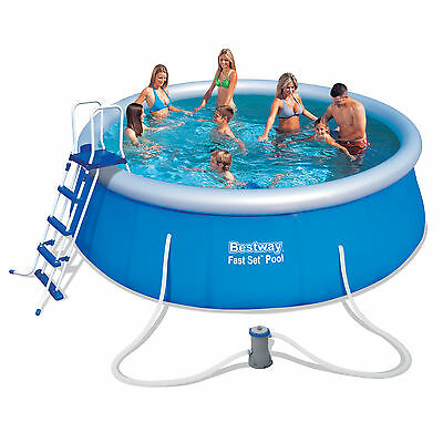 """Bestway 15ft x 48"""" Fast Set Above Ground Swimming Pool with Accessories (57289)"""