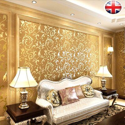 3D Victorian Damask Embossed Wallpaper Rolls Feature TV Background Decor Gold