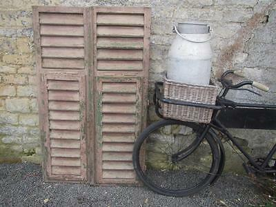 VINTAGE WOODEN FRENCH SHUTTERS 138X85 cm LOUVER SHABBY WINDOW  FREE POST