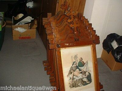 Set Of 14 Antique Victorian Oak Stations Of The Cross LOCAL DELIVERY ONLY