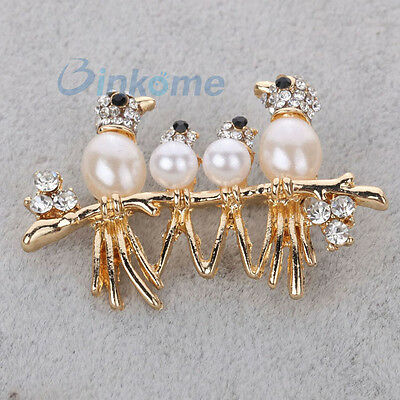 Gold Plated Crystal Pearl Bird Family Brooch Pin Party Wedding Women Jewelry