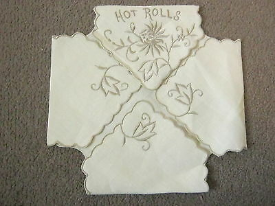 Embroidered Linen Hot Bread Rolls Basket Liner Thanksgiving Easter Holiday