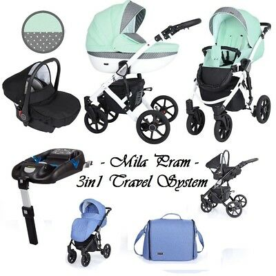 MILA BABY TRAVEL SYSTEM 3in1 PRAM PUSHCHAIR CAR SEAT NEW 19 COLOURS 2019+ EXTRAS