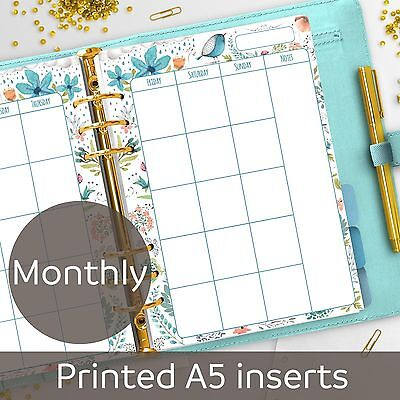 A5 Monthly planner inserts - Month on 2 pages - Filofax A5, Kikki K, Carpe Diem