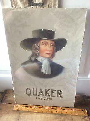 Antique Vintage Quaker Lace Cloth , Cardboard Advertising, Box Lid ?