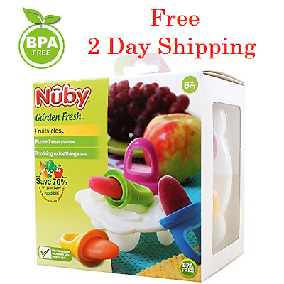 FREE 2DAY SHIP Ice Pop Molds Nuby Garden Fresh Fruitsicle Frozen Pop Tray Gadget