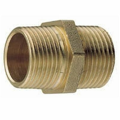 Brass BSP Male to Male Thread Equal Hex Nipple Connector - 32mm