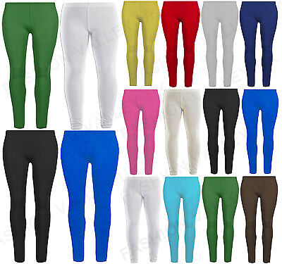 Plain Cotton Girls Leggings Stretchy Basic Legging Dance Pants Size 2-13 Years