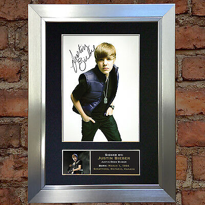 JUSTIN BIEBER No1 Signed Autograph Mounted Photo Repro A4 Print 82