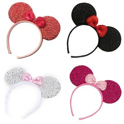 Sparkly Glitter Minnie Mouse Ears Alice Hair Band Headband Fancy Dress Party Hen