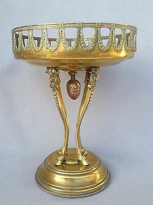 Antique french  planter bowl cup made of brass repousse early 1900's rams